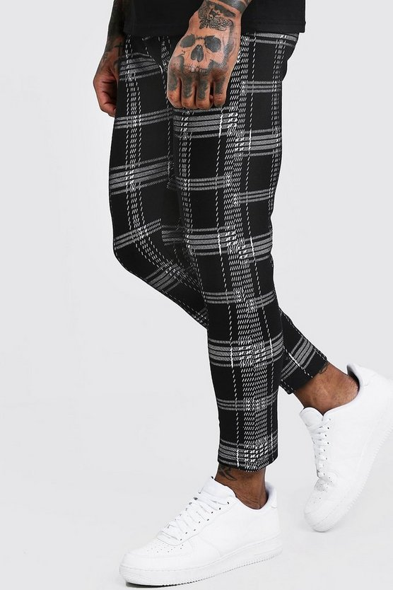 Skinny Check Jacquard Cropped Jogger