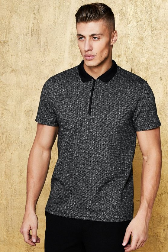 Mens Black Party Polo With Geo Jacquard