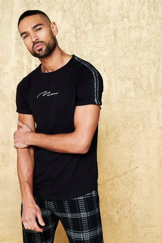 Mens Black MAN Signature Raglan T-Shirt With Party Tape