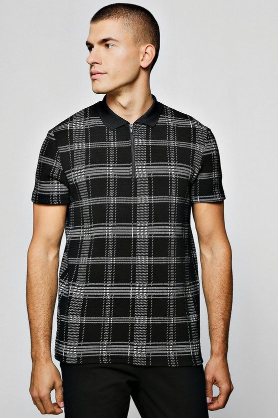 Mens Black Check Jacquard Polo With Zip Placket