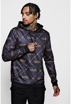 Mens Black MANagram Repeat Hoodie