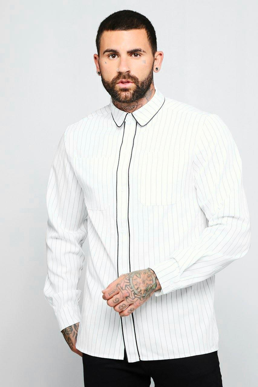 Pinstripe Long Sleeve Shirt With Piping