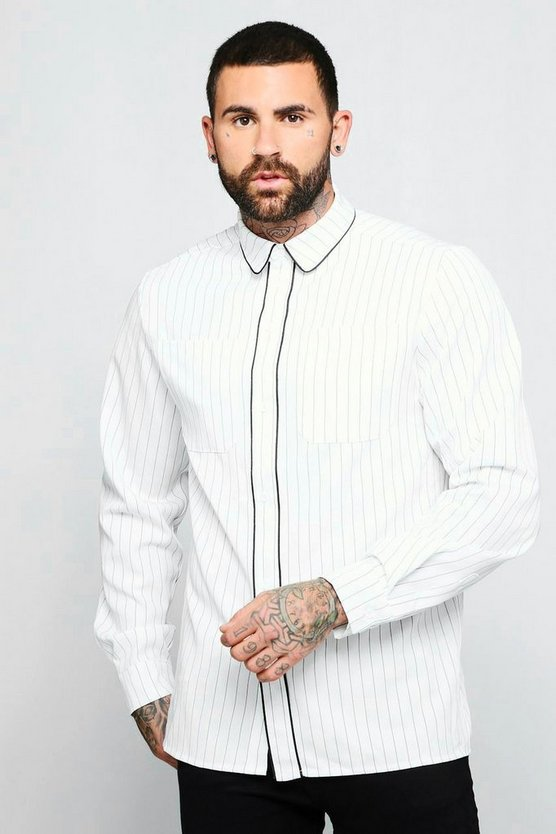 Mens White Pinstripe Long Sleeve Shirt With Piping