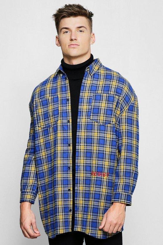 Blue Check Oversized Longline Shirt by Boohoo Man