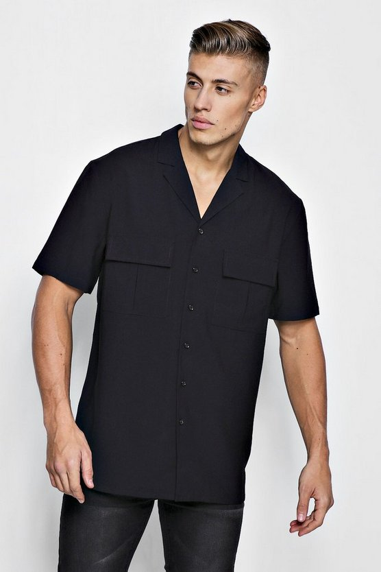 Black Short Sleeve Boxy Utility Shirt