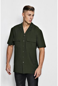 Mens Khaki Short Sleeve Boxy Utility Shirt