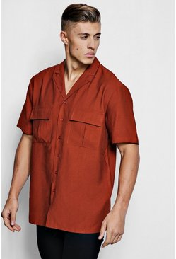 Mens Rust Short Sleeve Boxy Utility Shirt
