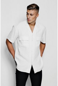 Mens White Short Sleeve Boxy Utility Shirt