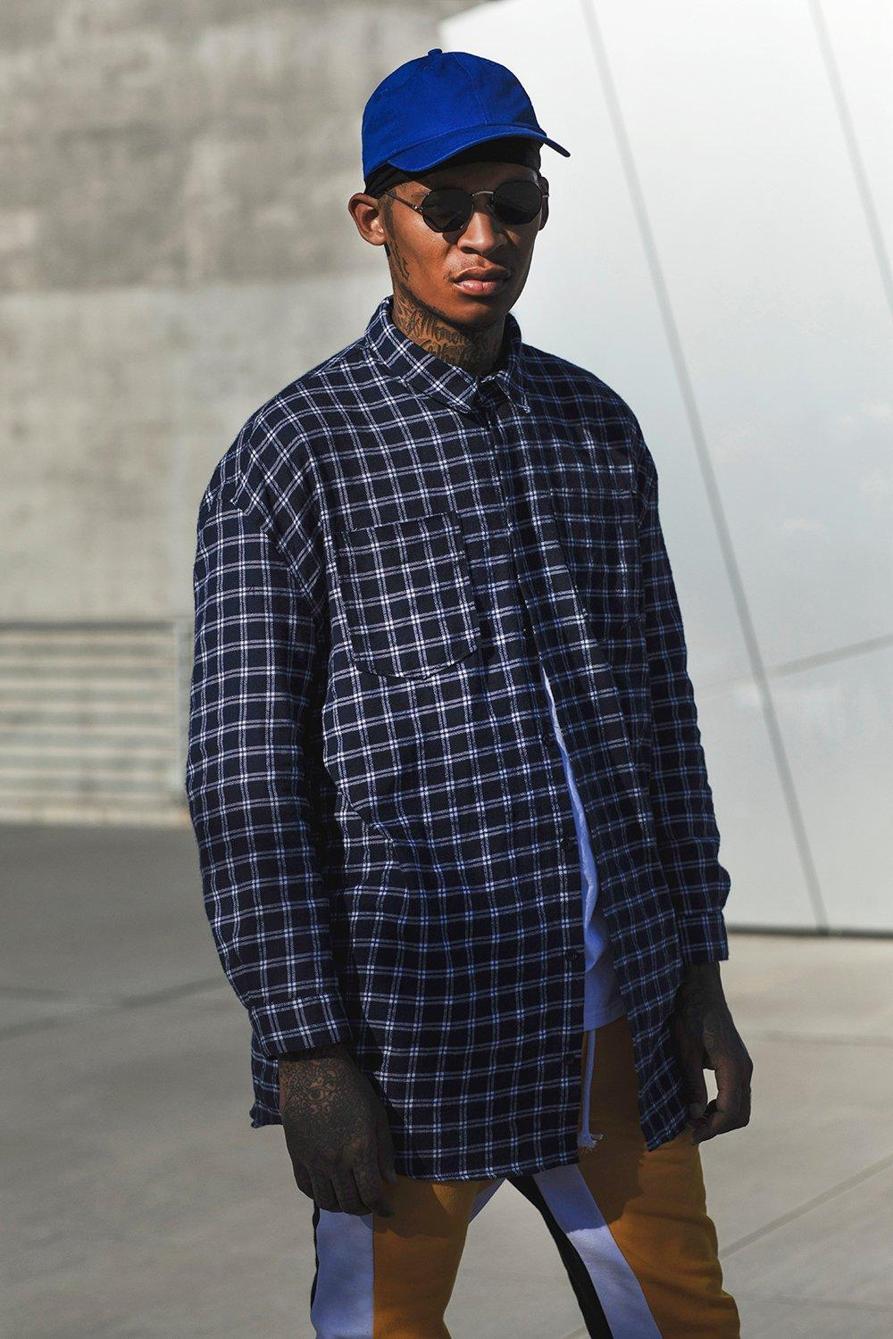 Brushed Check Oversized Longline Shirt