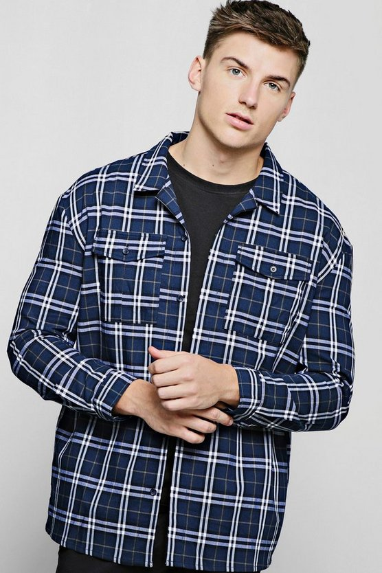Mens Navy Check Double Pocket Long Sleeve Shacket