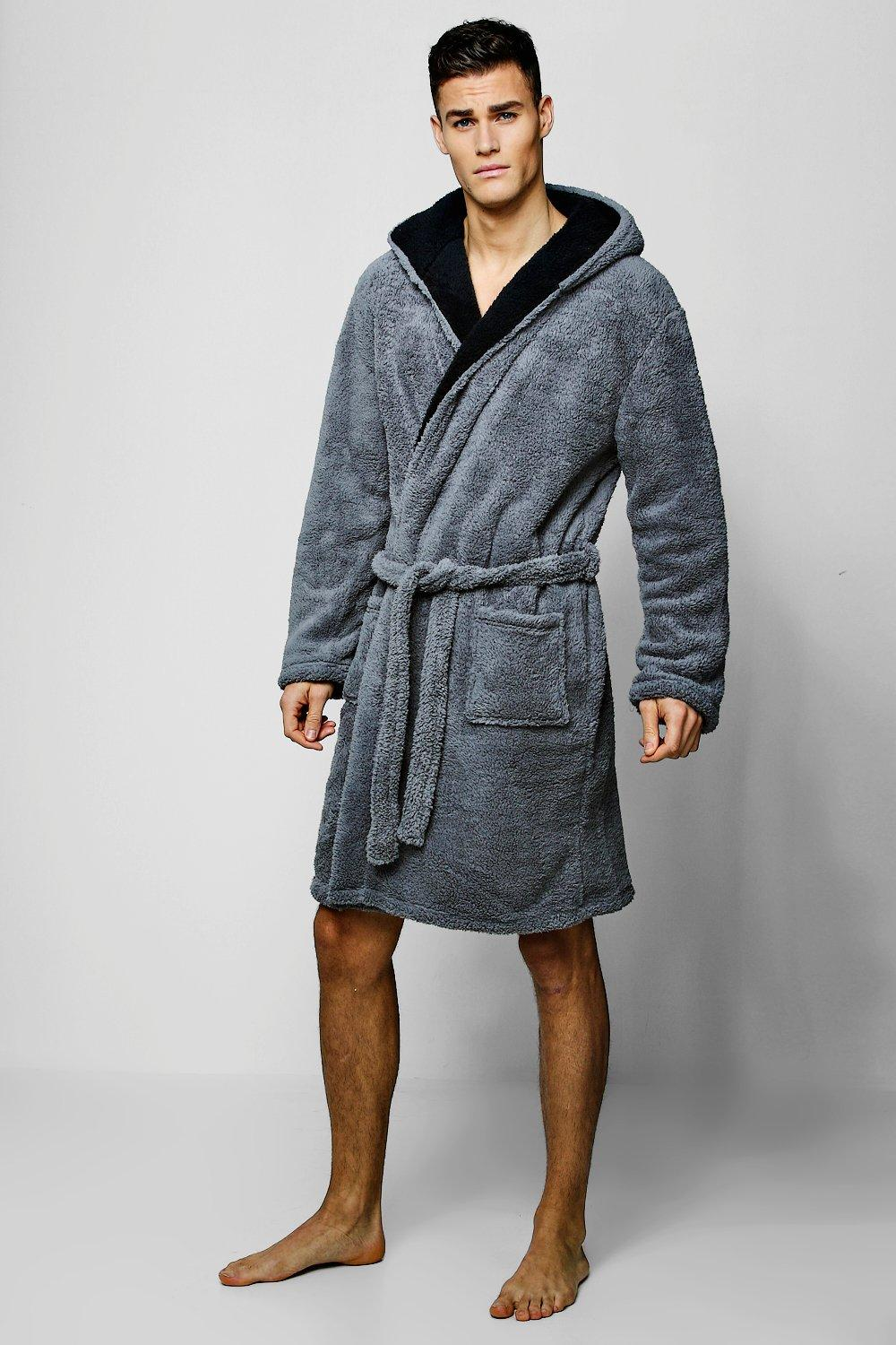 e10b0f7679 Mens Shaggy Fleece Robe With Contrast Lining. Hover to zoom