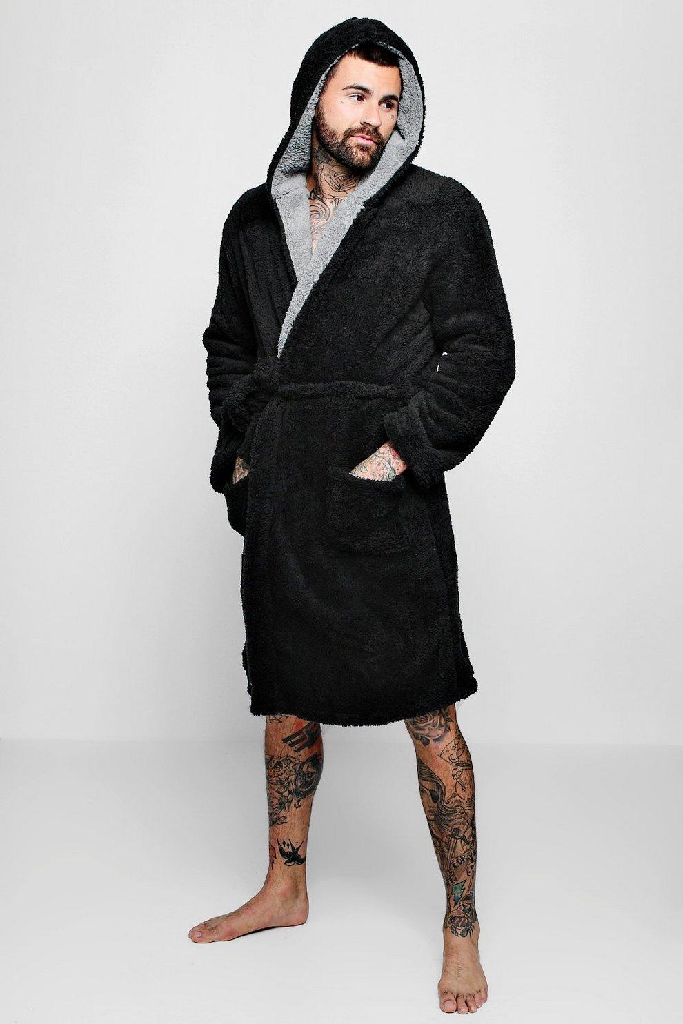 4029e84e02 Mens Shaggy Fleece Robe With Contrast Lining