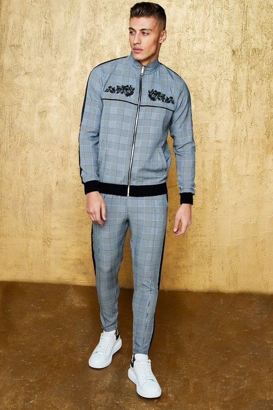 Skinny Fit Embroidered Check Woven Tracksuit