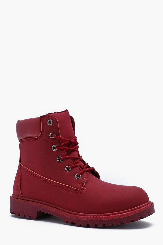 Faux Leather Worker Boot