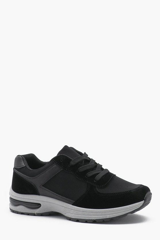Bubble Sole Faux Suede Panel Trainer