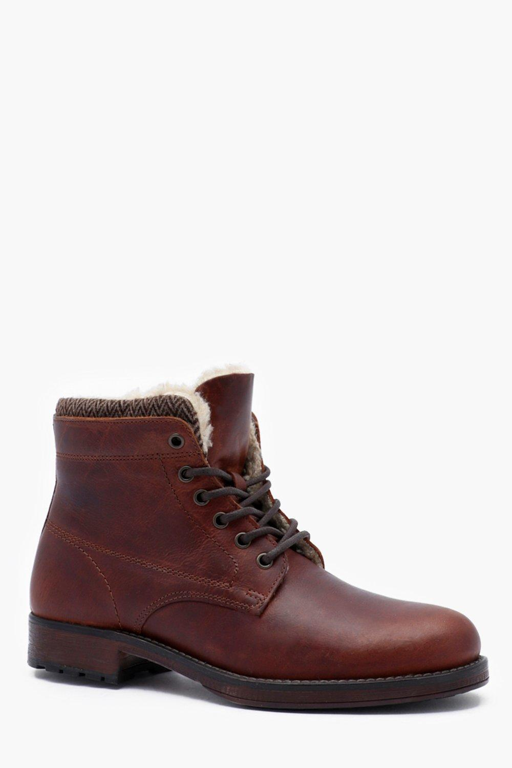 Waxy Leather Lace Up Boot