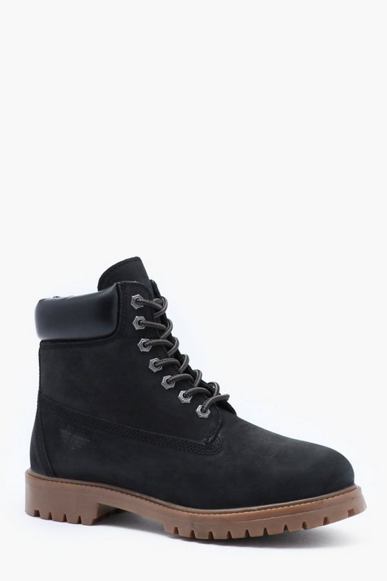 Waxy Suede Real Leather Lace Up Boot by Boohoo Man