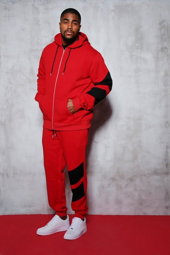 Big And Tall Tracksuit With Contrast Panels