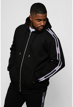Mens Black Big And Tall MAN Tape Zip Through Hoodie