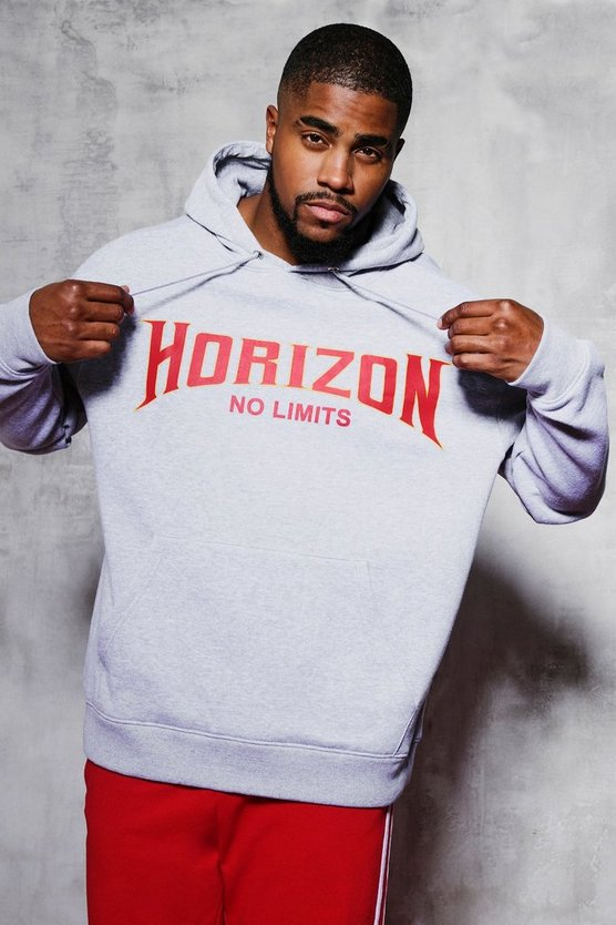 Big And Tall Horizon Chest Print Hoodie