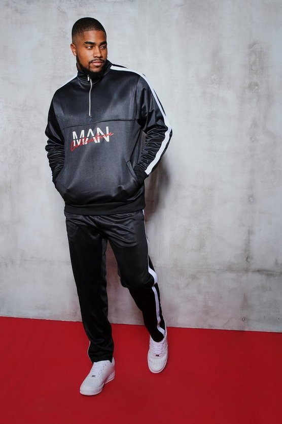 Big And Tall MAN Collective Printed Tricot Tracksuit