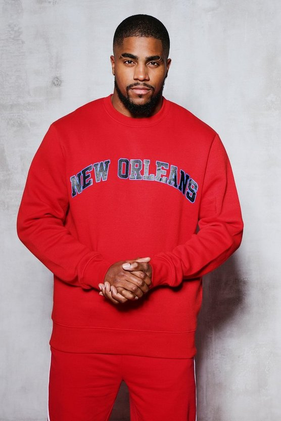 Mens Red Big And Tall New Orleans Sweater