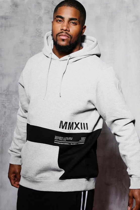 d09c3abfb36d73 Shoptagr | Big And Tall Colour Block Printed Hoodie by Boohoo Man