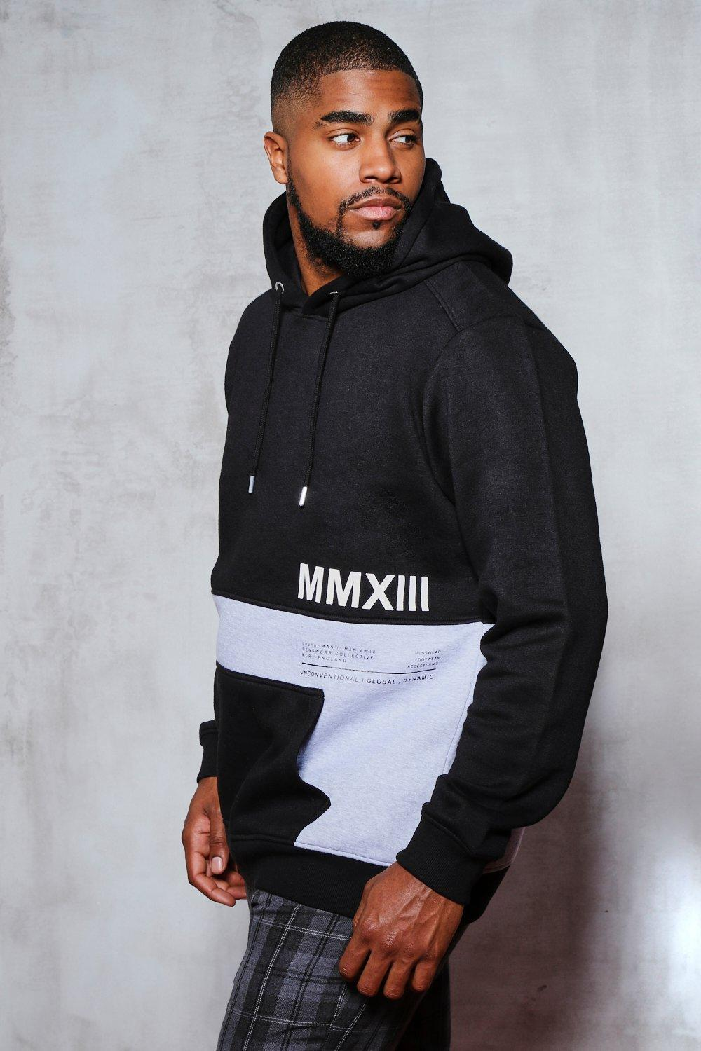 Big And Tall Colour Block Printed Hoodie