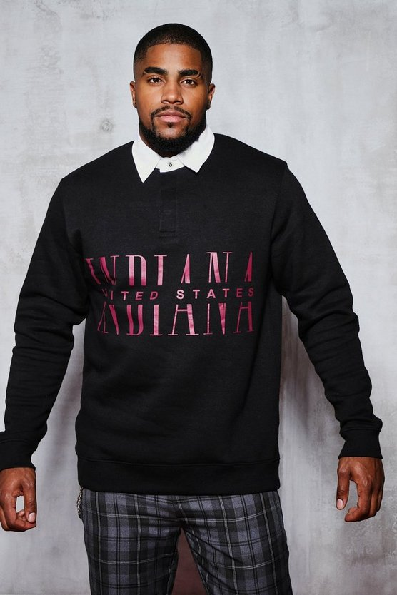 Big & Tall Indiana Print Rugby Sweater