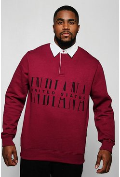 "Sudadera de rugby con estampado ""Indiana"" Big And Tall, Burdeos, Hombre"