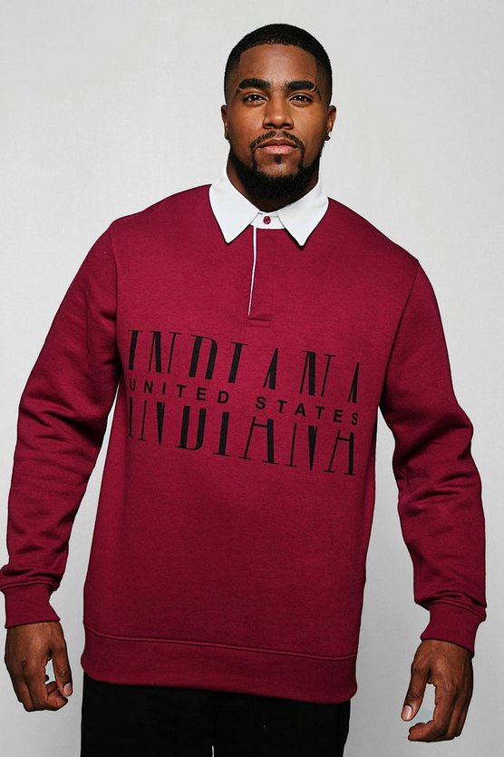 Big & Tall Indiana Print Rugby Sweat