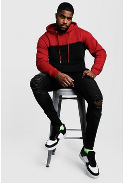 Red Big & Tall Colour Block Hoodie