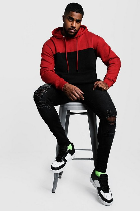 Mens Red Big & Tall Colour Block Hoodie