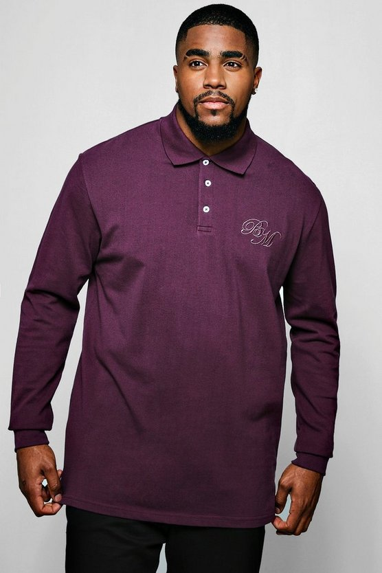 Big & Tall Long Sleeve BM Logo Pique Polo