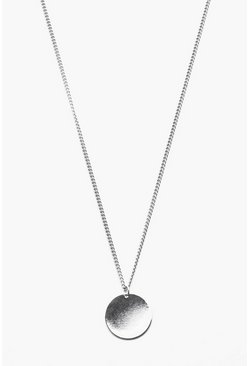 Mens Silver Simple Circle Pendant Necklace