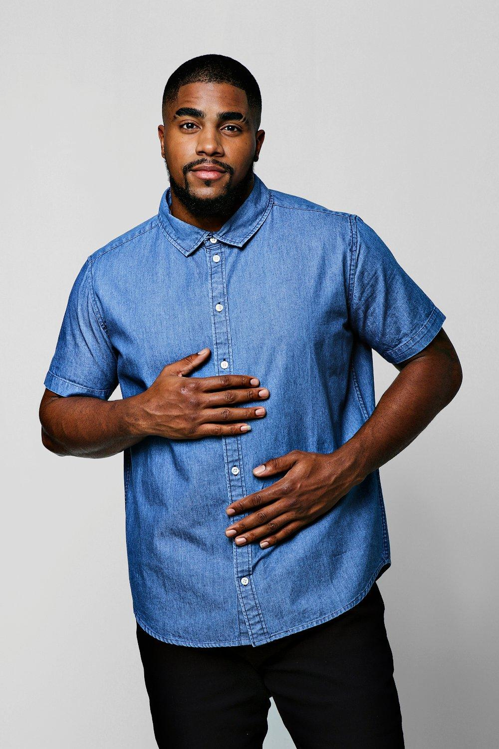 Big & Tall Short Sleeve Denim Shirt