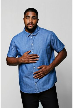 Camisa en denim de manga corta Big And Tall, Hombre