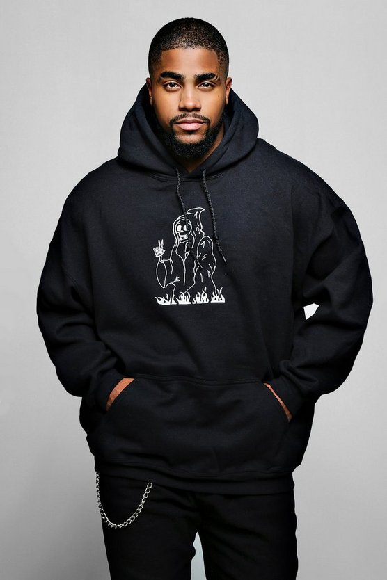 Big & Tall Graffiti Print Hoodie