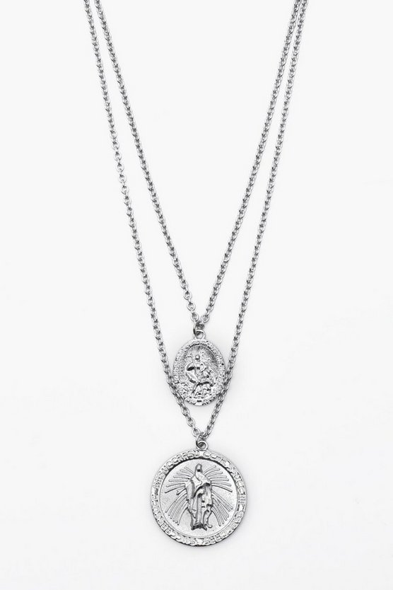 Silver Double Saint Emboss Coin Necklace