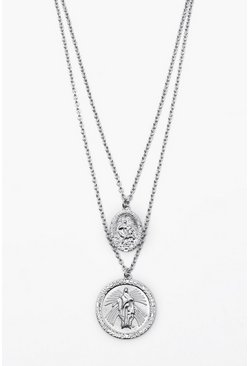 Mens Silver Double Saint Emboss Coin Necklace