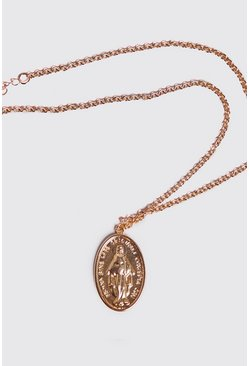 Mens Gold Saint Oval Coin Necklace