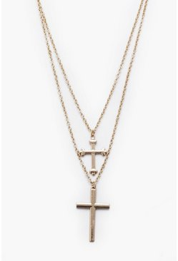 Mens Gold Double Row Cross Necklace