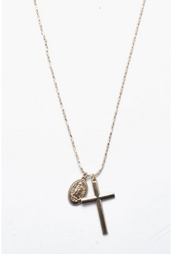 Mens Gold Cross And Coin Necklace