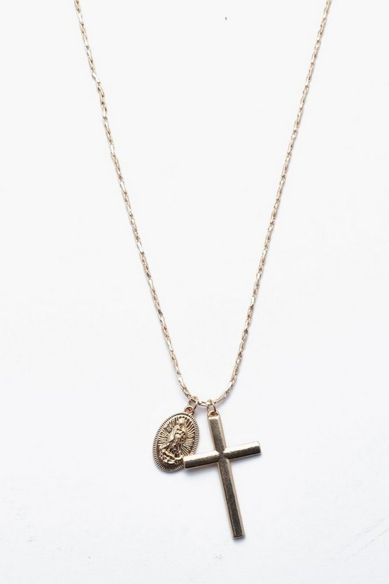 Cross And Coin Necklace