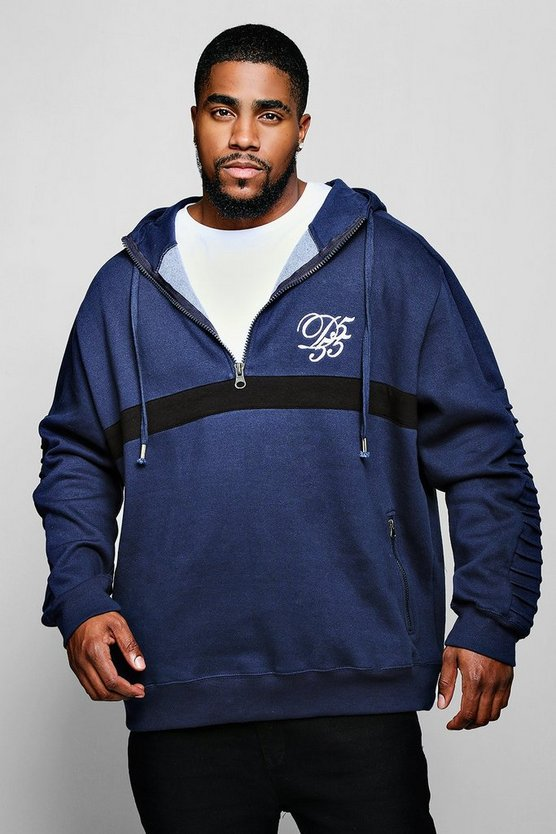 Big And Tall Hoodie With Biker Details