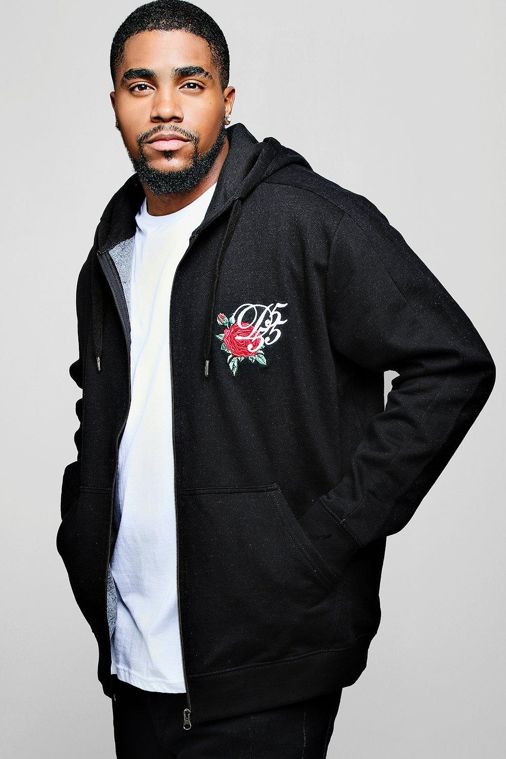 Big And Tall Chest Embroidered Hoodie