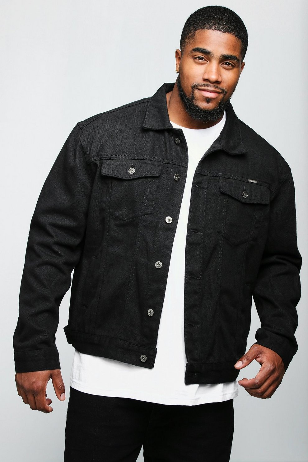 aa613245220 Big And Tall Black Denim Jacket