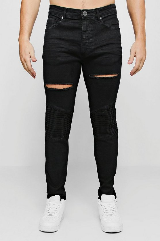 Mens Black Skinny Fit Biker Jeans With Distressing