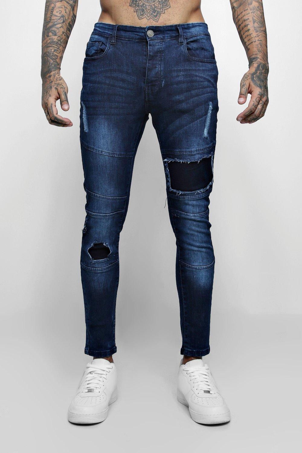 Super Skinny Jeans With Biker Panelling