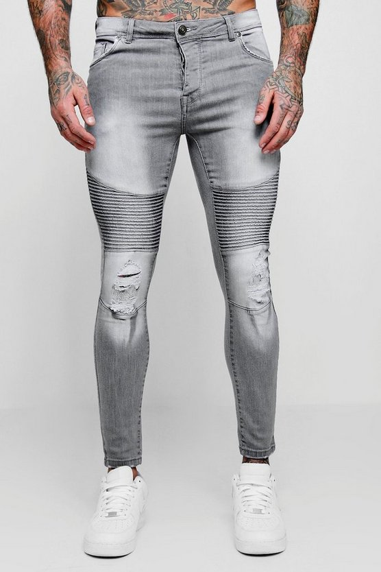 Spray On Skinny Biker Jeans With Distressing